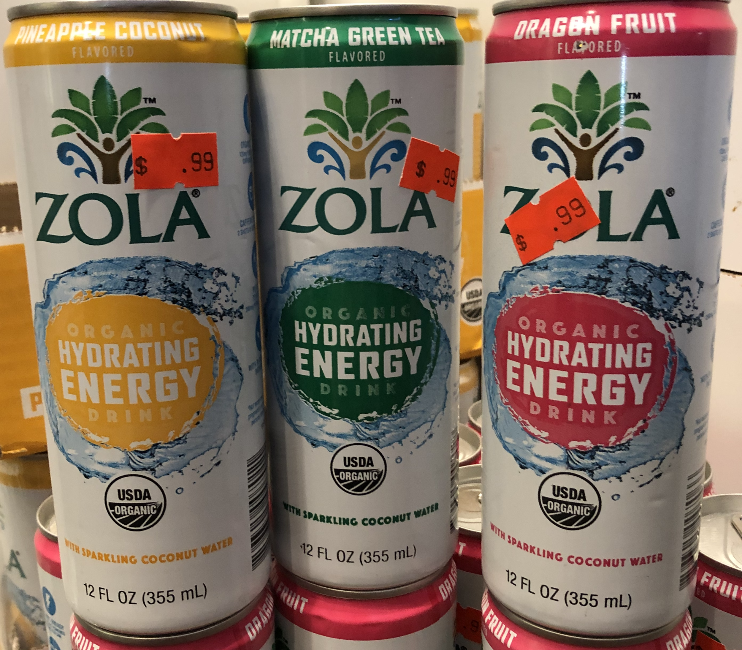 ZOLA Organic Hydrating Energy Drink - Pineapple Coconut, Matcha Green Tea, Dragon Fruit