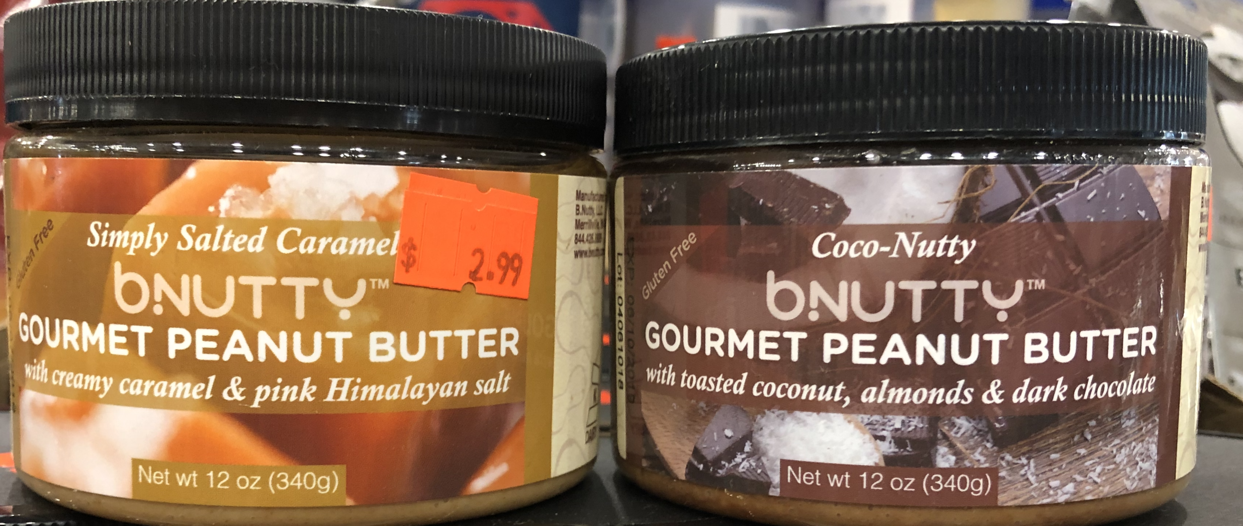 bnutty Gourmet Peanut Butter - Creamy Caramel & Pink Himalayan Salt; Toasted Coconut, Almonds & Dark Chocolate