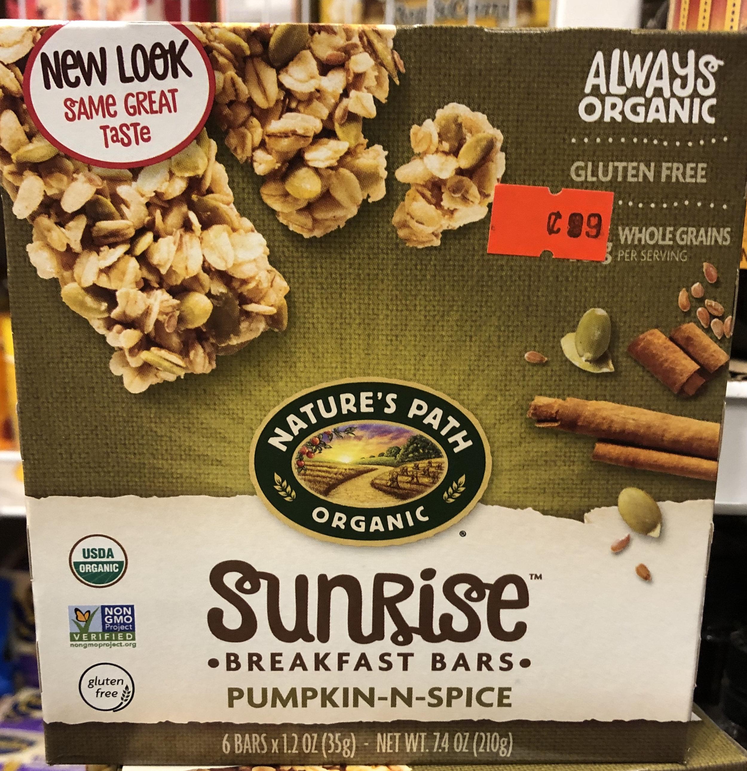 Nature's Path Organic Sunrise Breakfast Bars - Pumpkin N Spice