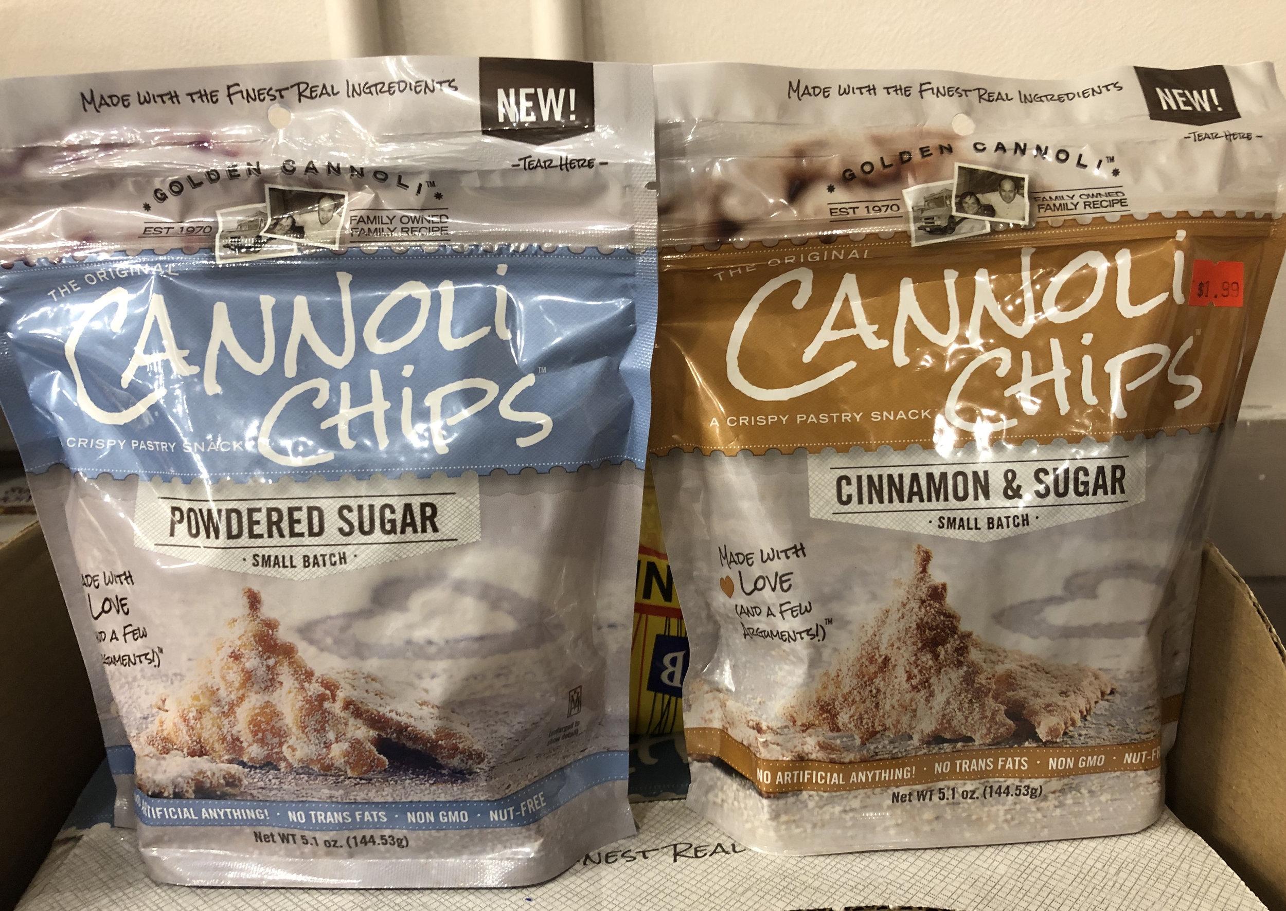Golden Cannoli Chips - Powdered Sugar; Cinnamon & Sugar