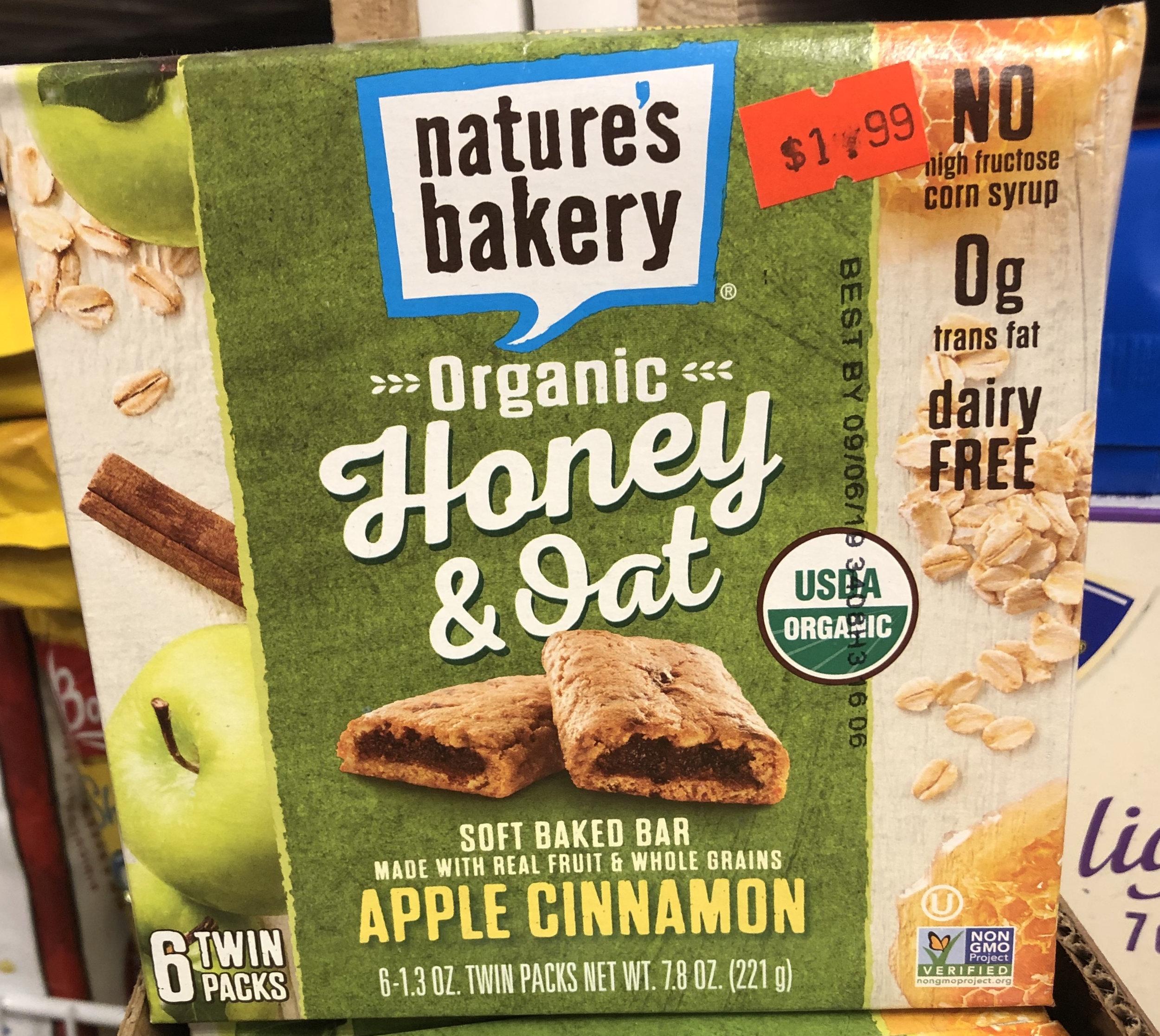 Nature's Bakery Organic Honey & Oat Apple Cinnamon Soft Baked Bar