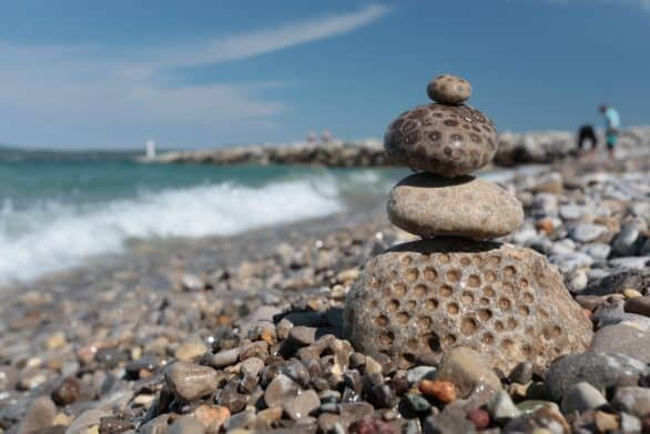 Rock hunting on the shores of Northern Michigan lakes is a favorite pastime of visitors and locals alike!