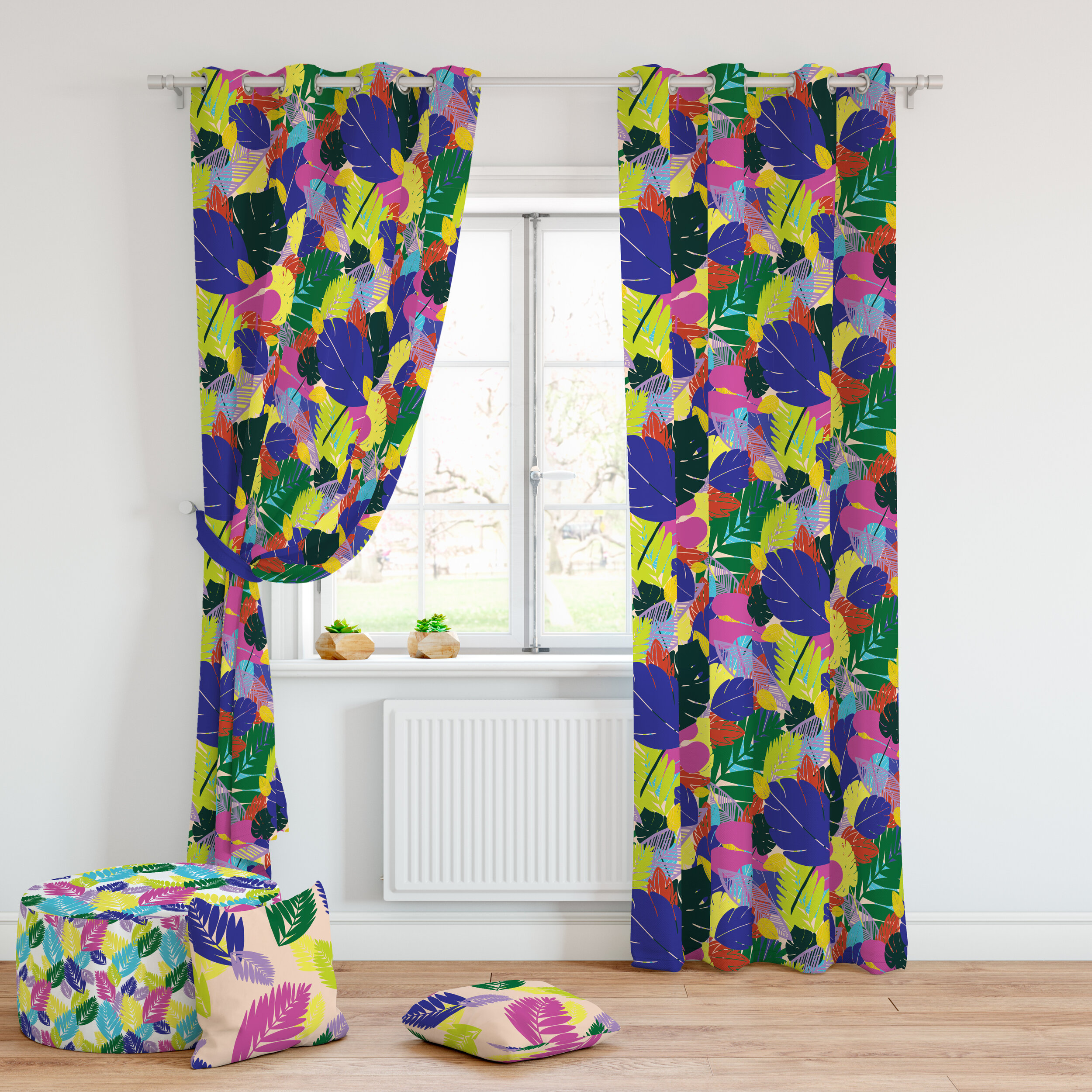 Tropical Kitchen Curtains and pouffe Mock Up.jpg