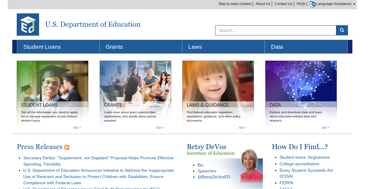The Department of Education - The homepage
