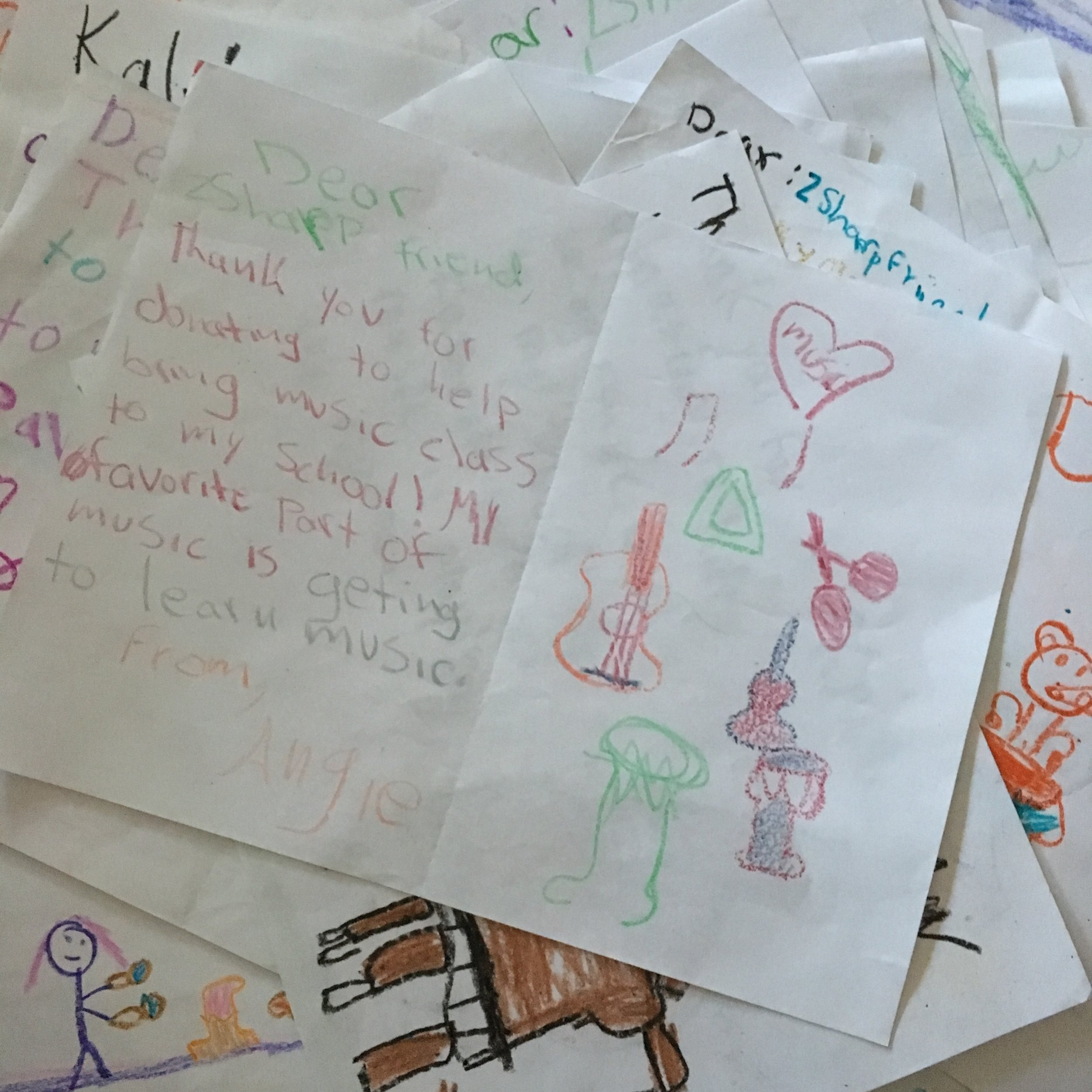 Student letters to teachers and supporters