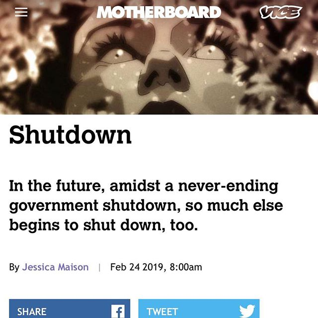 Jessica's new short story, Shutdown, published on Vice's Motherboard site. Link in bio.