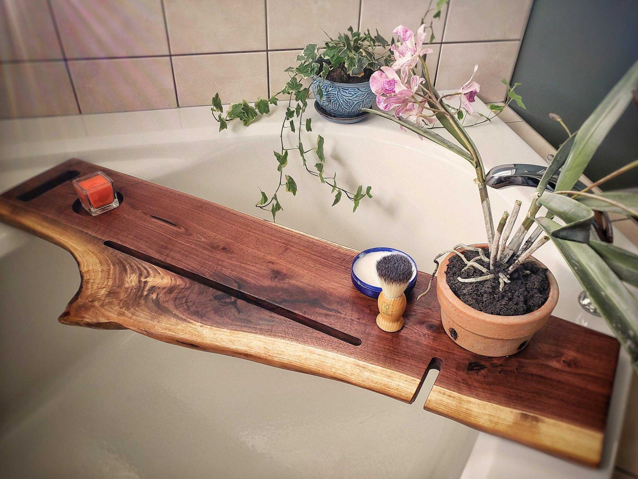 Live Edge Walnut Bath Caddy Redhead Handcrafted Woods