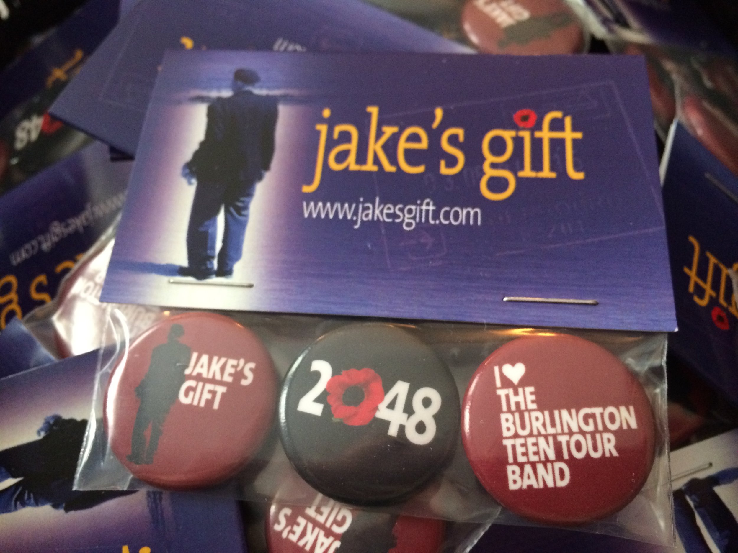 designed by juno productions - In the summer of 2010, Director and Graphic Designer Dirk Van Stralen created a set of three Jake's Gift buttons, each pertaining to a theme within the play. Since that summer, Juno Productions has sold these button packages at their performances, and 100% of the profits have always been donated back to the Legions of the communities they perform in. The button packages sell for $5.00 each. To date, the company has raised over $50,000.00 for Poppy Trust Funds and Legions across Canada.