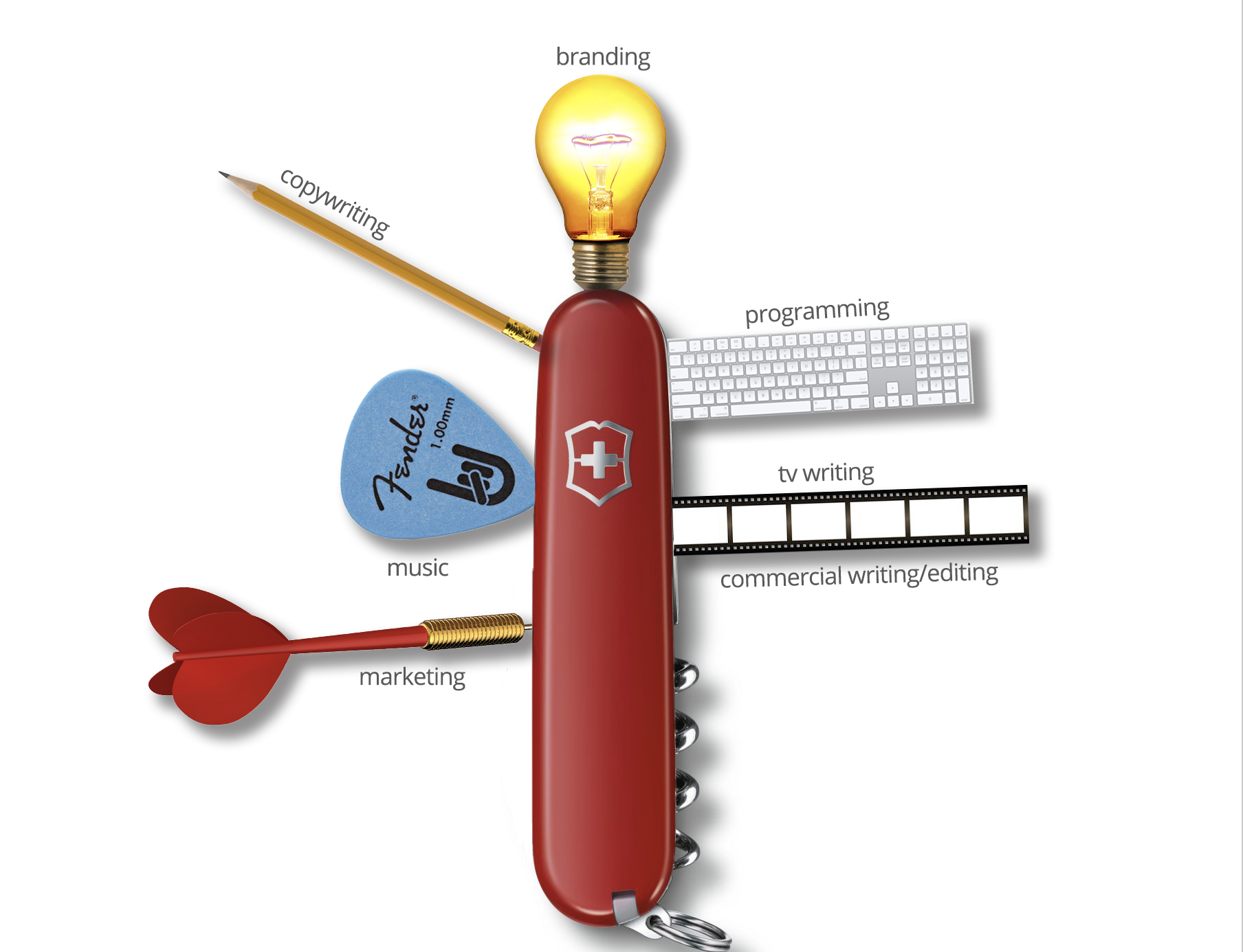 Creative Swiss Army Knife. - A multifaceted tool that offers you options in a dire situation. A replacement for a dozen others saving you space, time, money. A tool carried for functionality, versatility, and even survival in adverse situations.You can't replace chainsaw or a backhoe for a specific job, but in today's dynamic business world, where money or the precise tools you need may not be readily available, agility and dexterity can be invaluable.I created a multi-million dollar company from the ground up with no money and a shoestring marketing budget that is saving 100k+ relationships and counting.I built a completely proprietary computer system behind that business (including the industry's most complicated box choices with over 1,000 box options) from scratch.I had successes as a television writer starting with 2 top 10 finishes in the two biggest Hollywood writing contests in 1 year that transitioned into a successful copywriting career.Agency background with dozen+ creative/branding campaigns, and 100% success rate for pitches at my most recent advertising firm.I did a piston replacement on a motorcycle at age 13 with nothing more than a owners manual, and built 2 houses from the studs with no experience, and have played guitar since I was 4.I'll design you a wedding dress if you give me a chance.Here's the downside. I hate spiders - I know that's not a manly thing to say, but I do. I hate them. I can handle blood, I take boxing lessons, I'm a guy's guy (used to remodel houses), but no spiders. I saw Charlotte's Web as a child and all I could think was, will someone get some bug spray and end this charade. Even if you were to put a cute over sized baseball hat on a spider, give him the voice of the puppy from the fabric softener commercials, and put him in some kind of narrative where he gets picked last in a kickball game and teased by all the other mean spiders, I would still mush his ass with a Kleenex (attached to a long stick (attached to an even lon