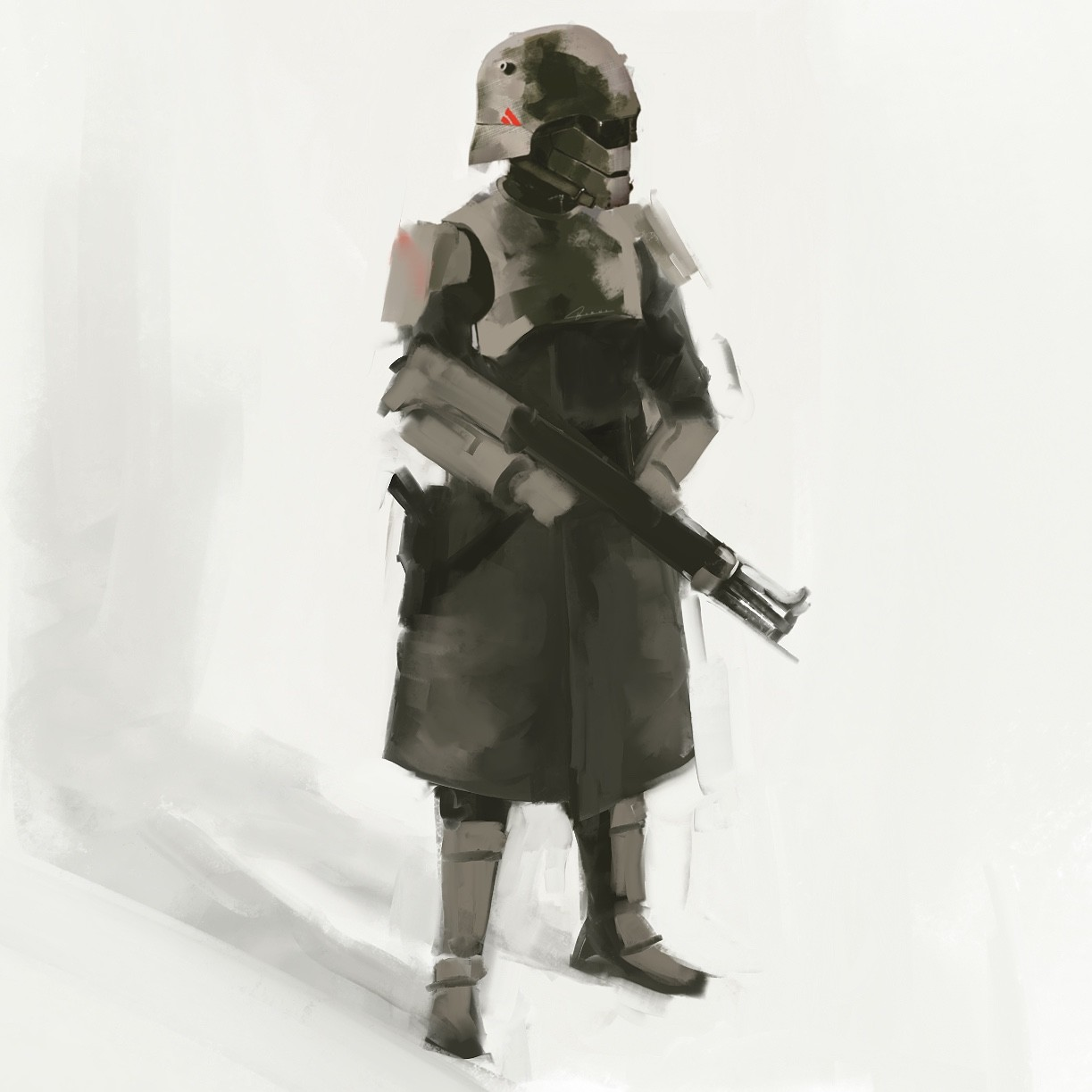"Early ""Regency trooper""   concept from  War World.  The idea was to take classic industrialist and fascist ideas and throw a scarier, sci-fi spin on them."