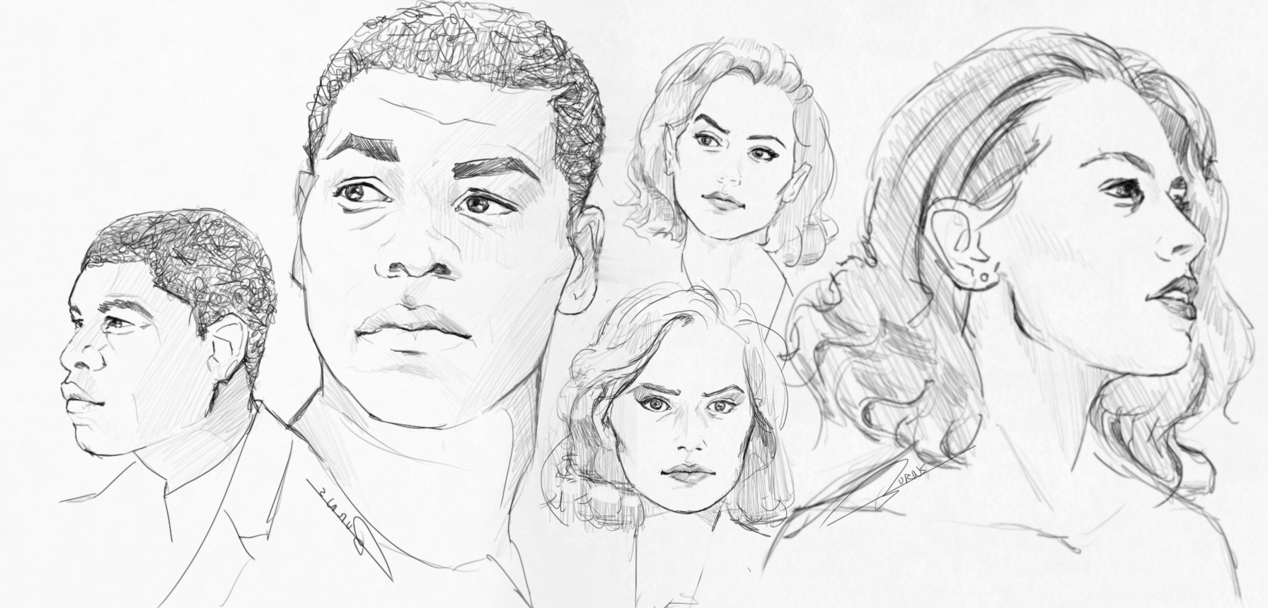 John Boyega and Daisy Ridley sketches