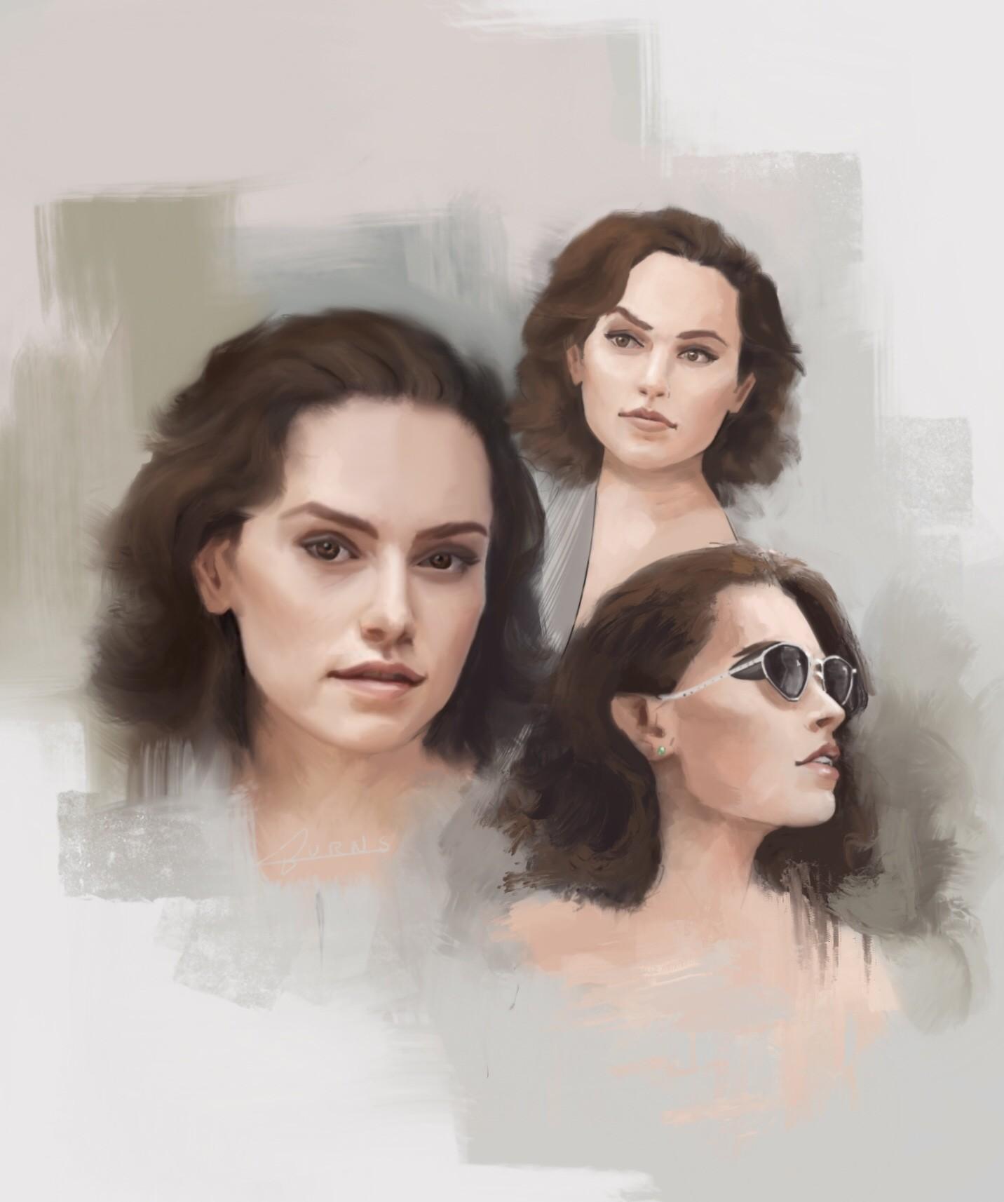 Daisy Ridley studies