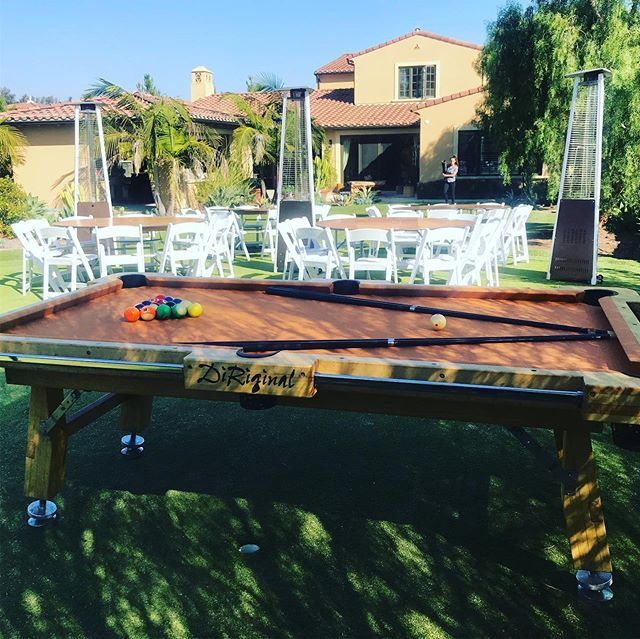 When your son is going off to get his PHD, you throw him a party. Put up a pool table and an air hockey table for this one. But since there are no lights on the putting green in the backyard, we lit it up for them because we do lighting too. #billiards #pool #airhockey #party #partyideas #event #eventplanner #partyplanner #weddingplanner