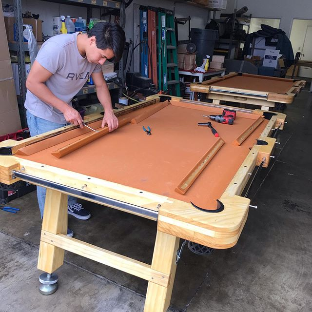 Tuned up the tables today. Color change on the felt, sanded and re-oiled the wood. How do they look?  I love the new color!!! #pooltable #billiards #wedding #weddingplanner #event #eventplanner #party #partyideas #partyplanner