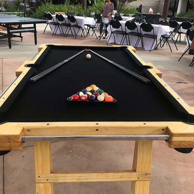 I am in LOVE with the new felt color. And it went perfect with the Batman themed 30th birthday party.  Pool table, air hockey and 2 ping pong tables. #birthday #birthdayparty #batman #birthdaypartyideas #event #eventplanner #party #partyplanner #weddingplanner #tabletennis #pingpong #airhockey #billiards