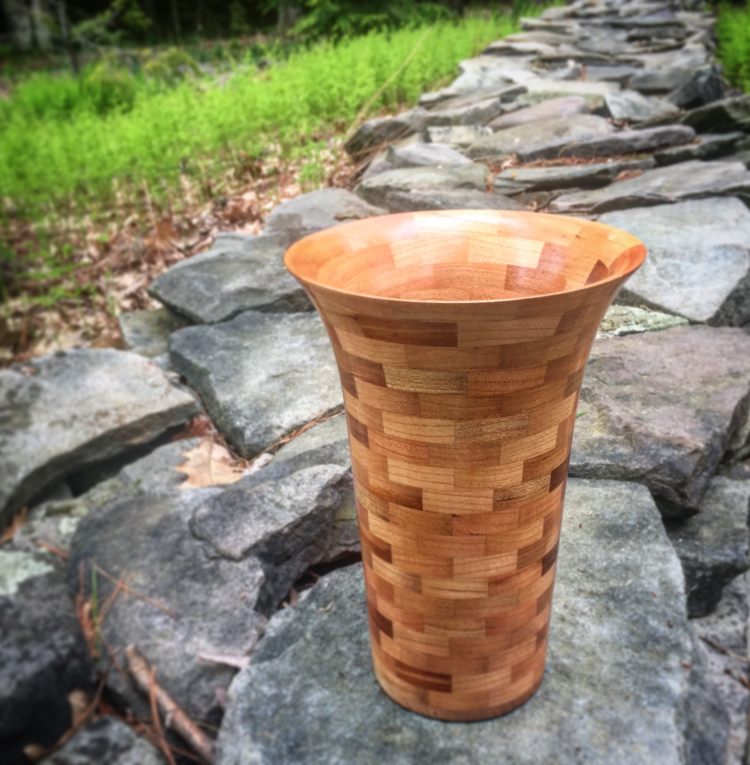 Segmented Vase - Cherry - 9 x 3 x 3
