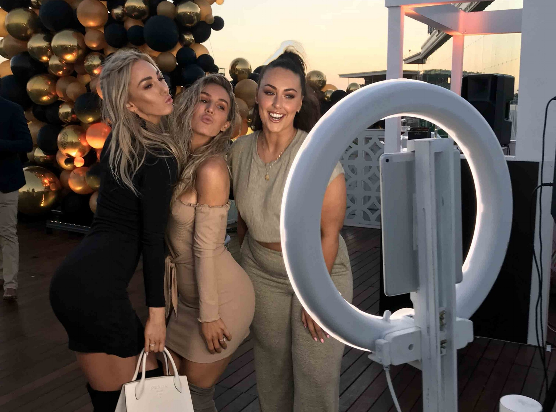 Bondi Sands     Venue: Caulfield Racecourse    SGB Highlights: Ashy Bines and co absolutely loving the booth…