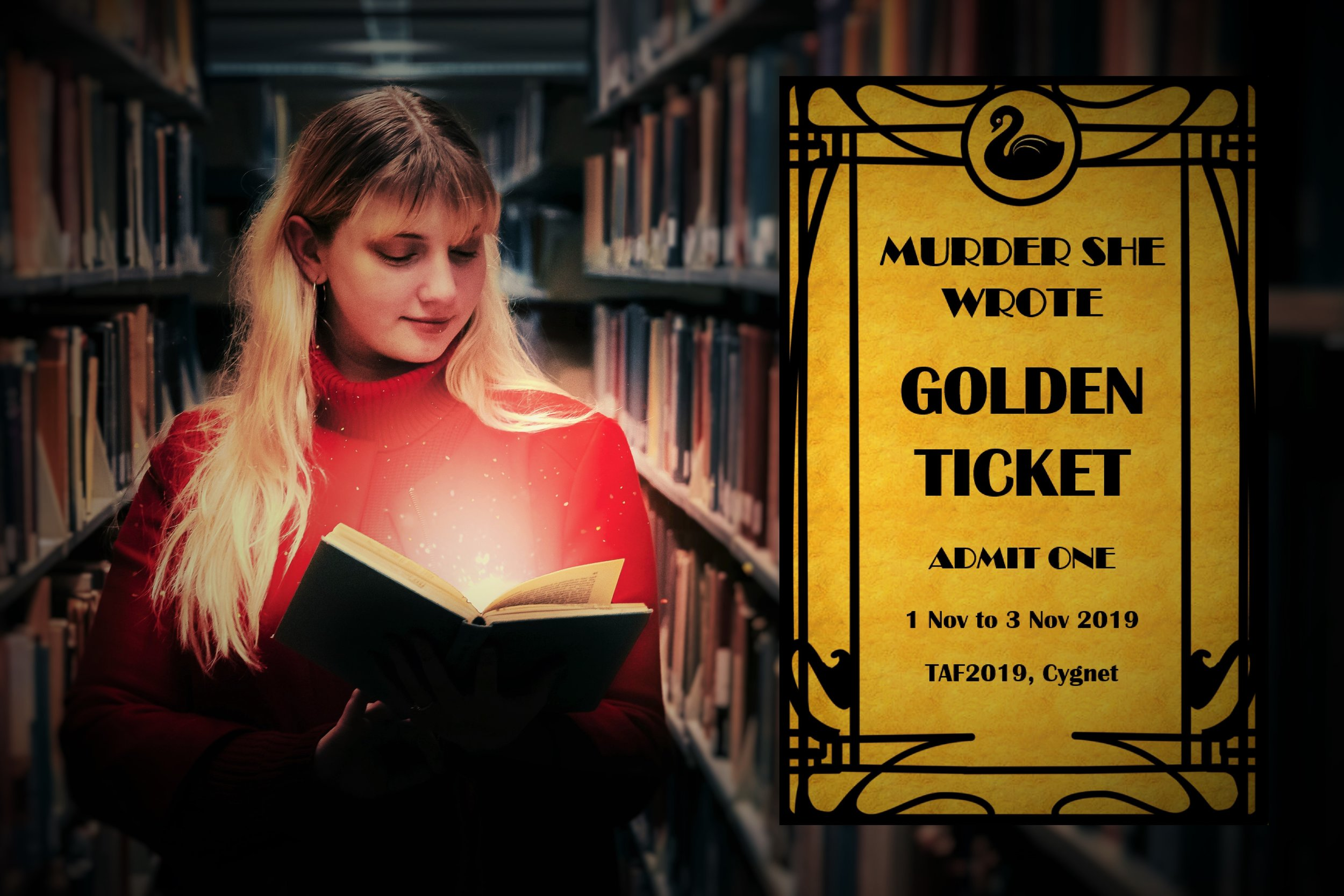 The first 80 GOLDEN TICKETS include a seat at the Murder Mystery Party!