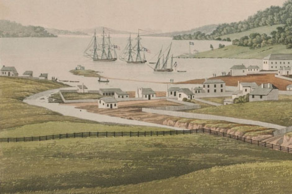 Hobart Town in 1819, as it would have looked to  Mary Cockerill , by George Williams Evans