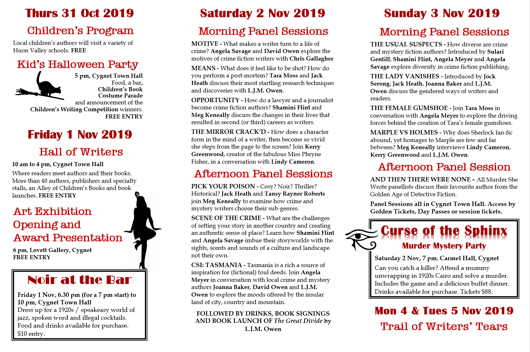 QUICK GLANCE PROGRAM FOR DAYS 1 TO 4 OF THE FESTIVAL, 31 OCT TO 3 NOV 2019