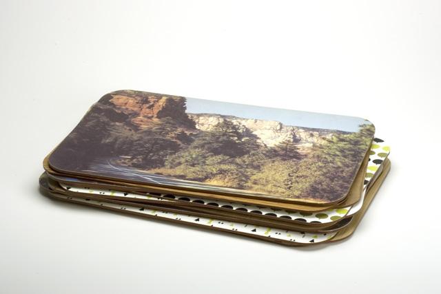 N A T U R E 0 3 / Elizabeth Azen, 2005.  Various place mats. MDF, woodgrain contact paper, digital prints, adhesive.