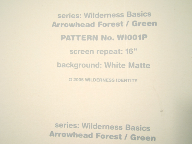 Wilderness Basic; wallpaper sample page, back