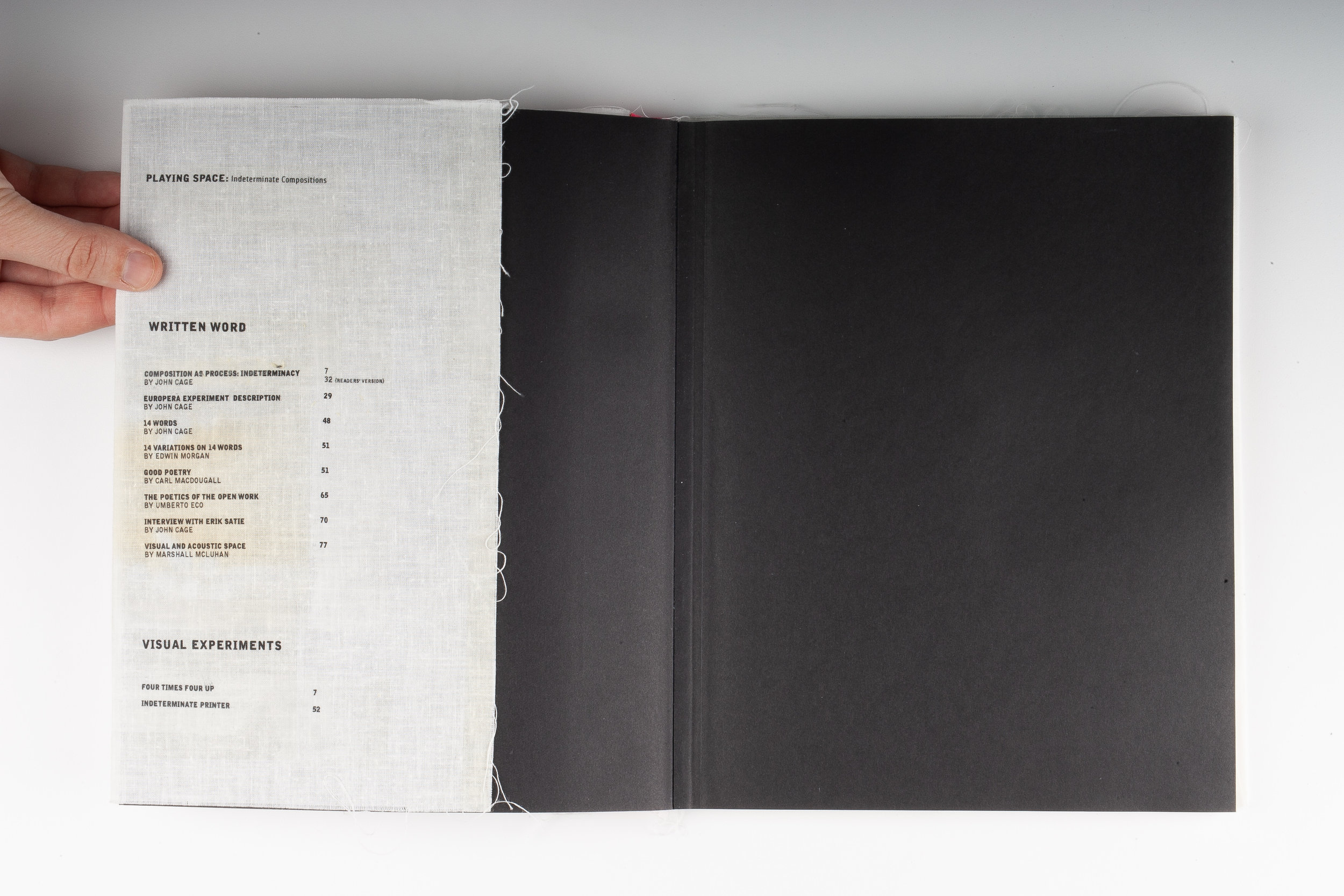 Playing Space, Elizabeth Azen, artist book, book design, graphic design, typography, screen printing, small press, John Cage, indeterminate compositions, Marshall McLuhan, Umberto Eco