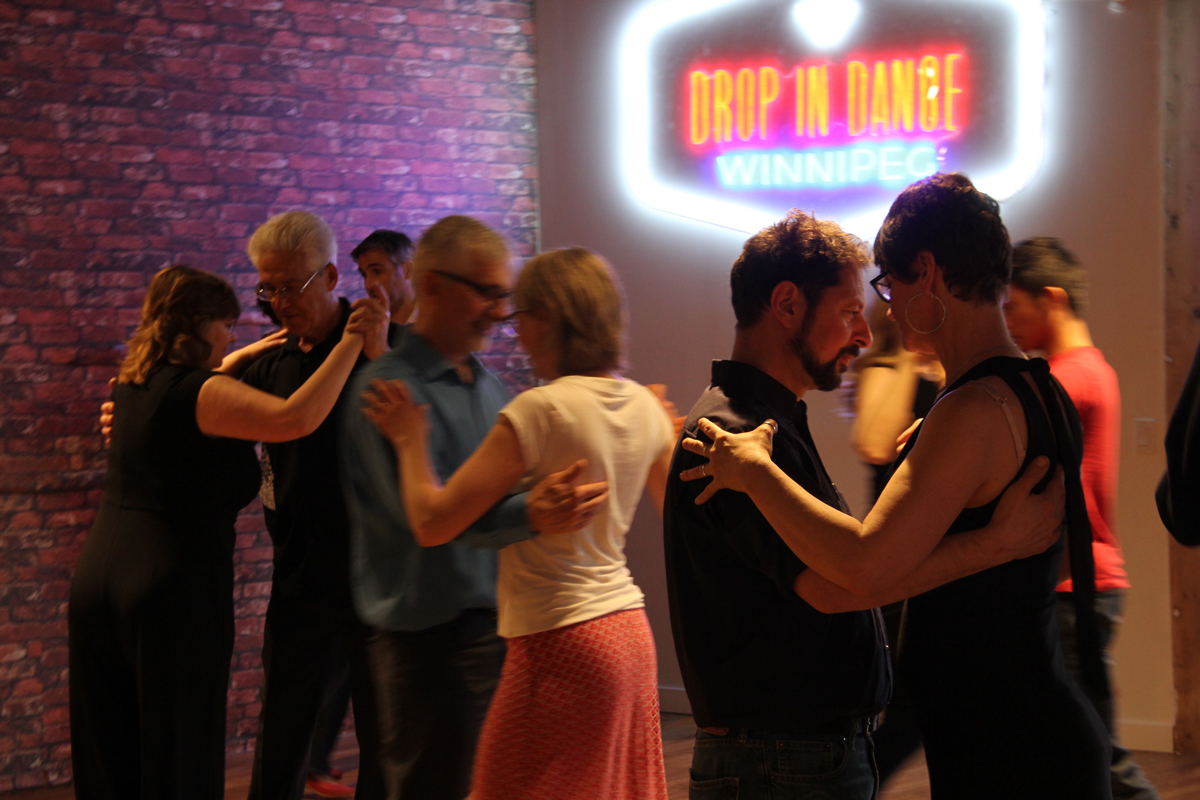 Tango Salon Winnipeg classes are held in the beautiful dance studios at Drop In Dance Winnipeg, 1381 Portage Avenue each Saturday.