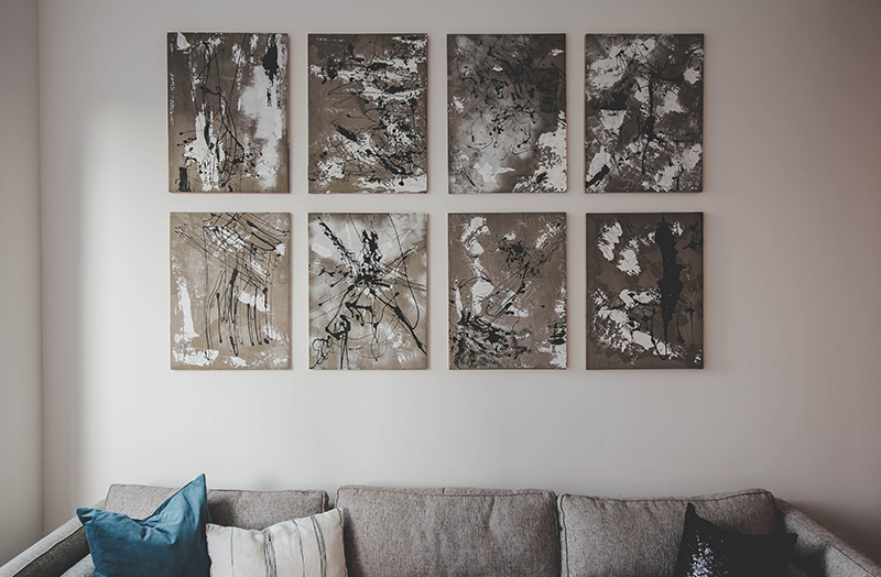Concrete and acrylic on recycled canvas frames and repurposed scenery