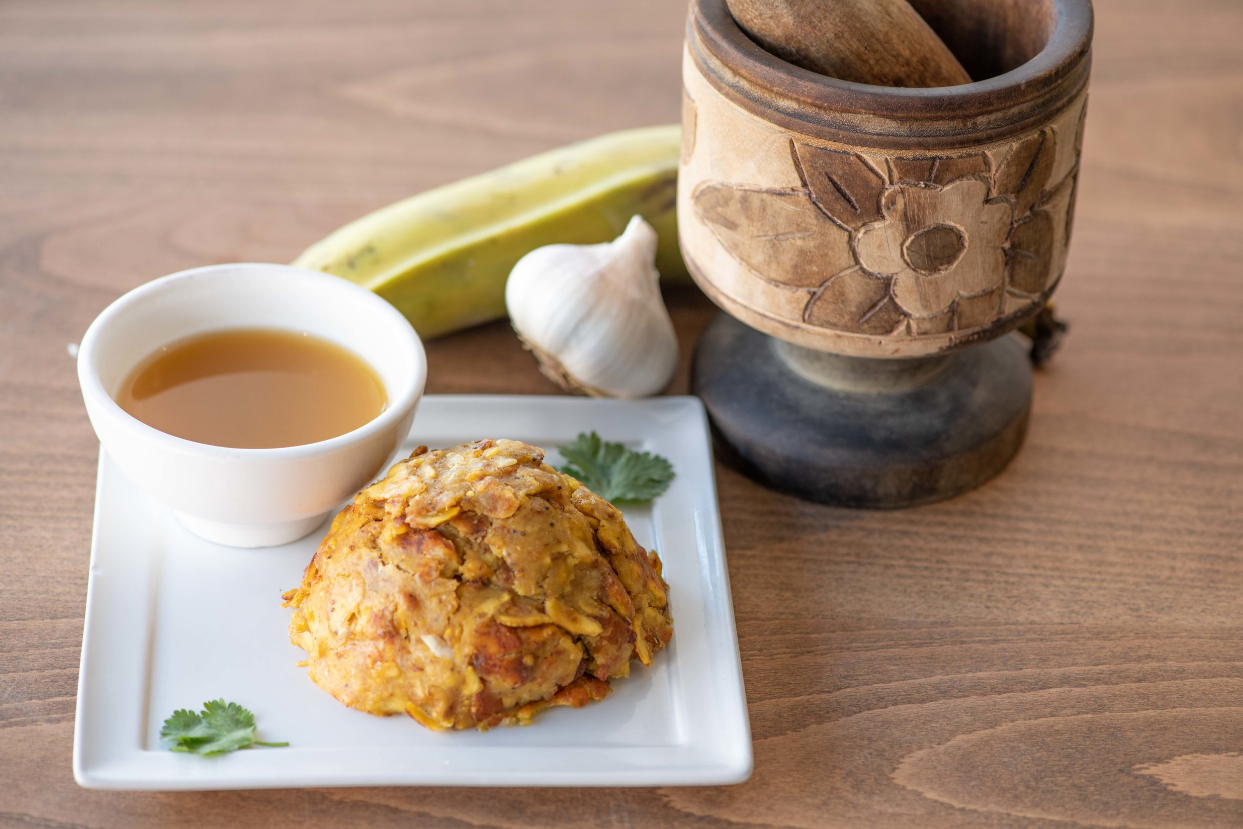Mofongo with Pestle and ingredients