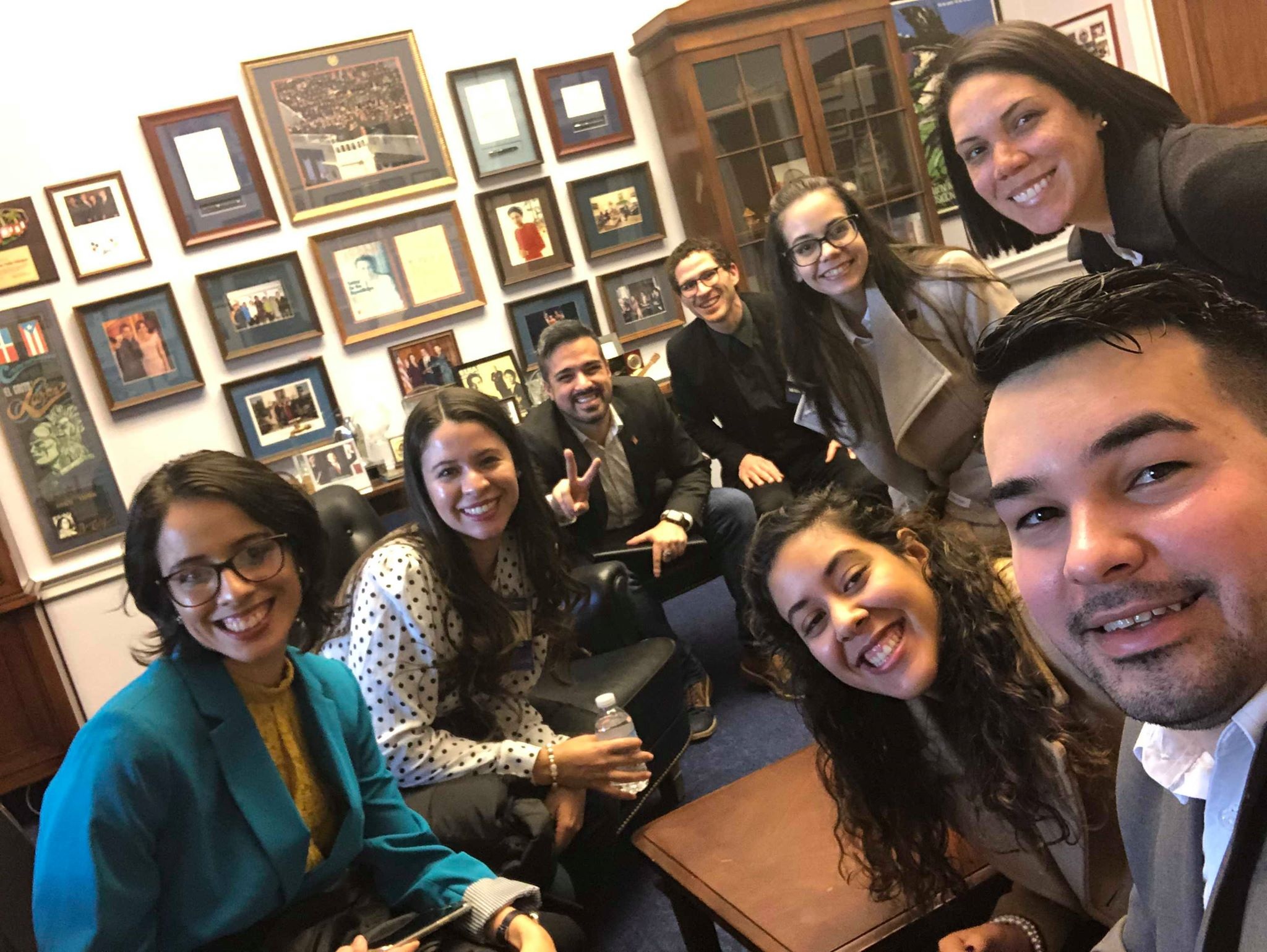 Selfie with Puerto Rican scientists at the office of Congresswoman Velázquez.