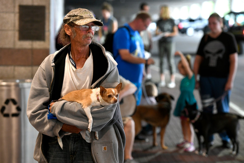 AVMA Street Clinic, July 17, 2018, Denver Convention Center. (Photos courtesy Denver Post) waiting in line.jpeg