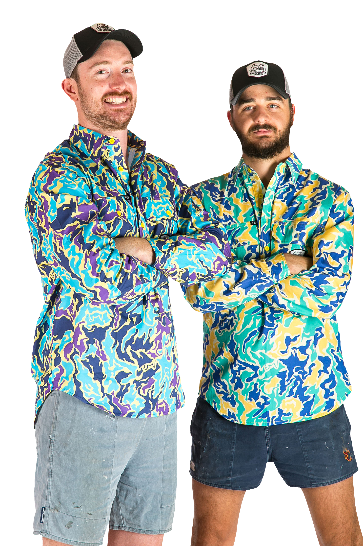 Dan Allen and Ed Ross modelling their awesome shirts.