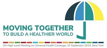 UHC2030 logo and slogan accompanying the UN High-Level Meeting on Universal Health Coverage that took place on 23 September 2019 in New York