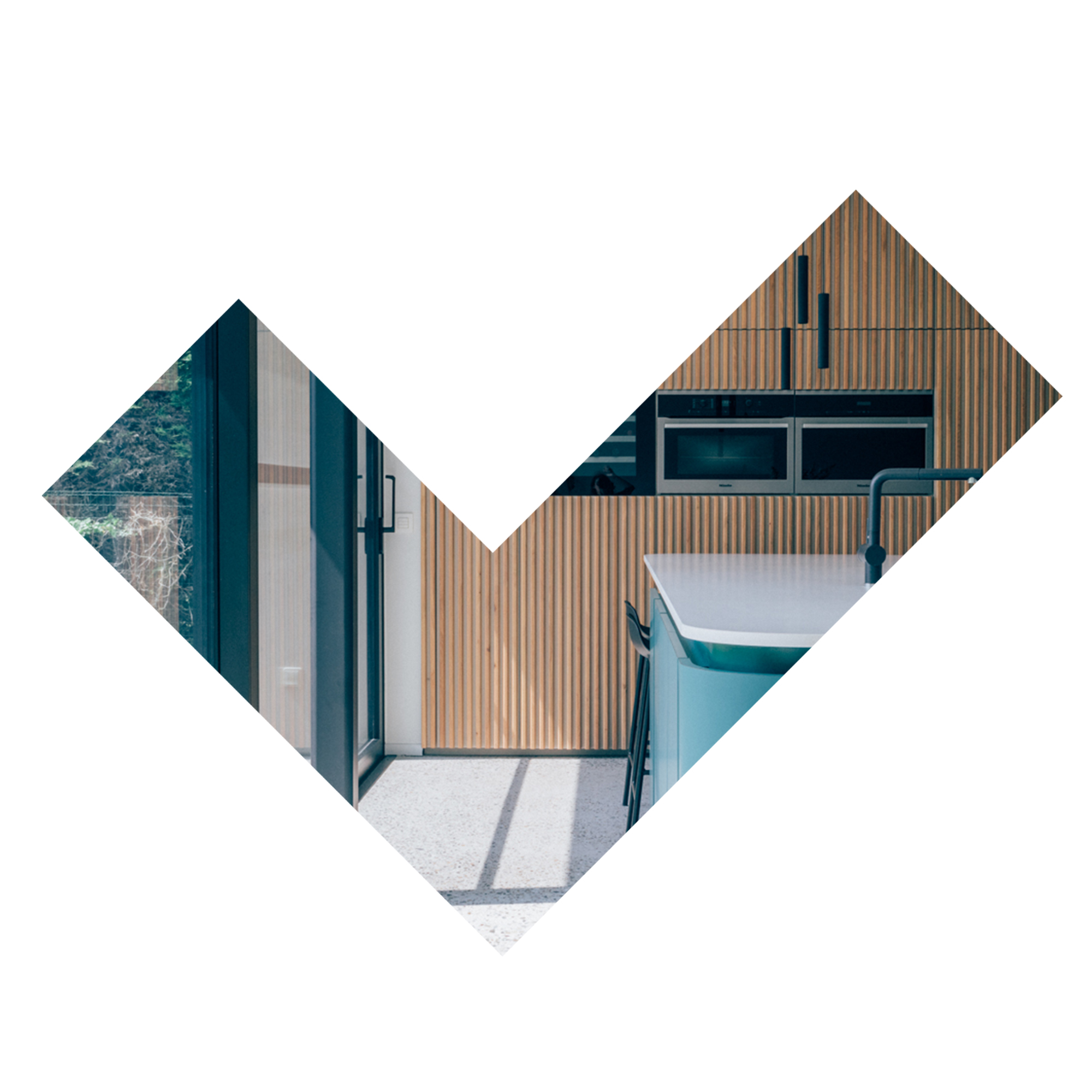 COLOUR IN THE HOUSE - A residential project featuring sober and elegant materials combined with a touch of colour.Collaboration with espoo.