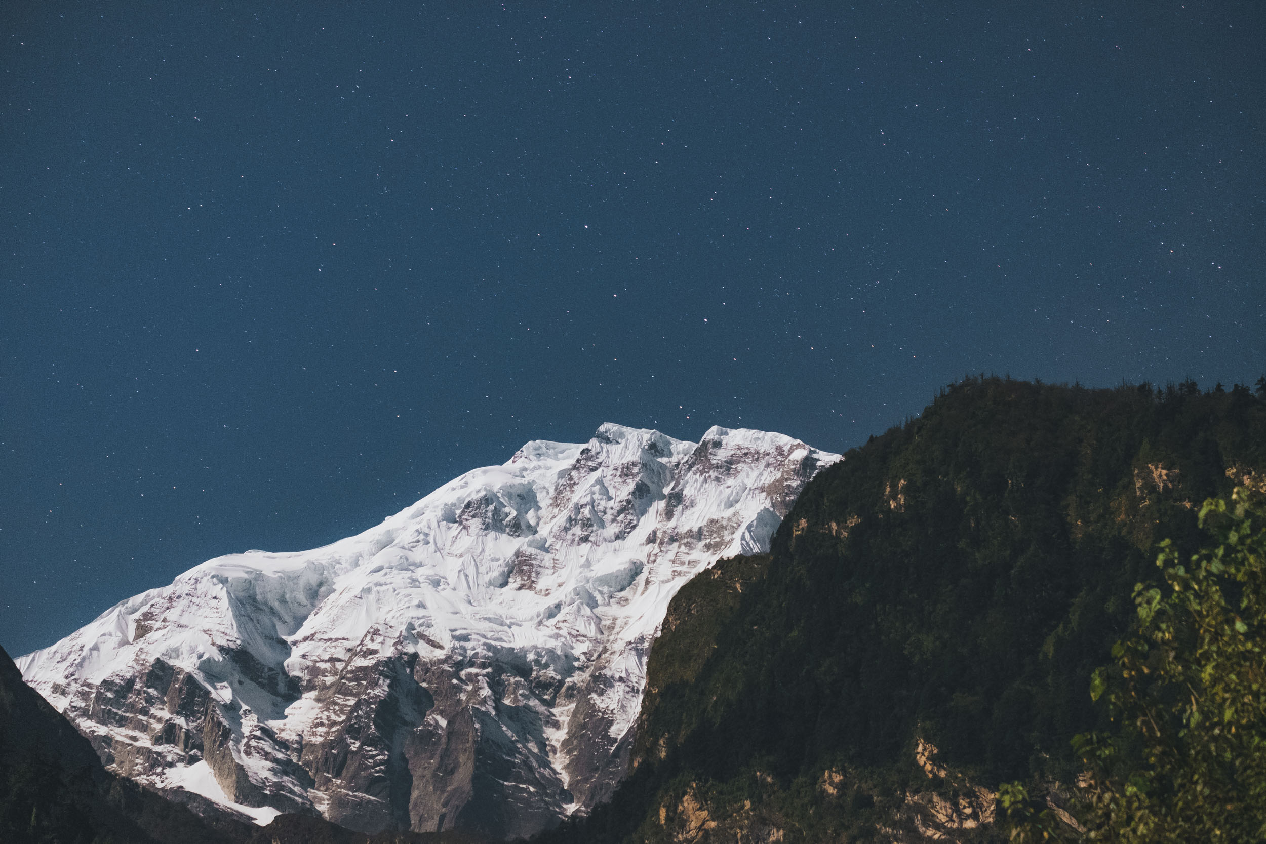 Annapurna II from Chame at Night, full moon on lighting from the left.