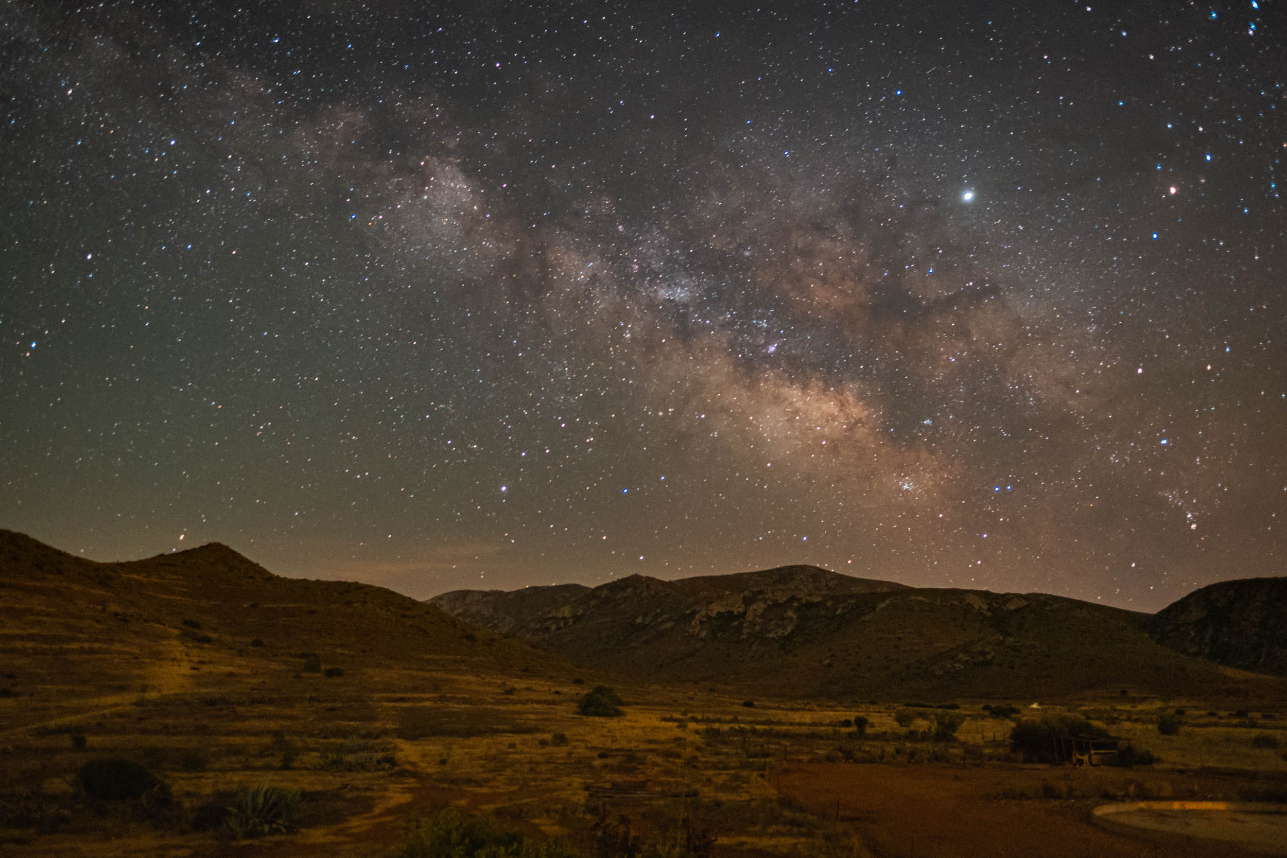 Milky Way over the volcanic mountains, Cabo de Gata.