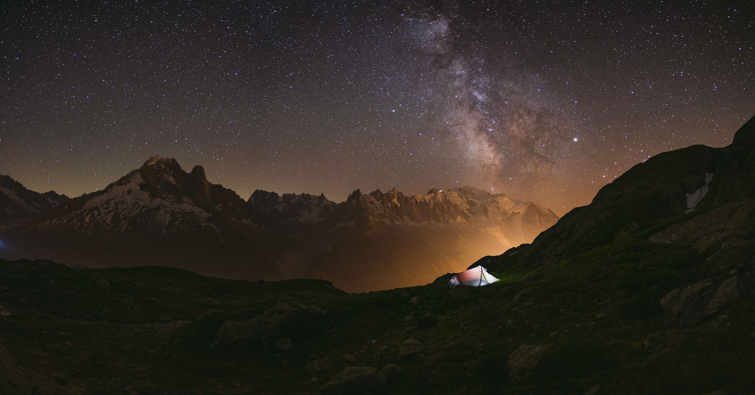 Milky Way over Mont Blanc, and my tent @ Lac des Cheserys, France.