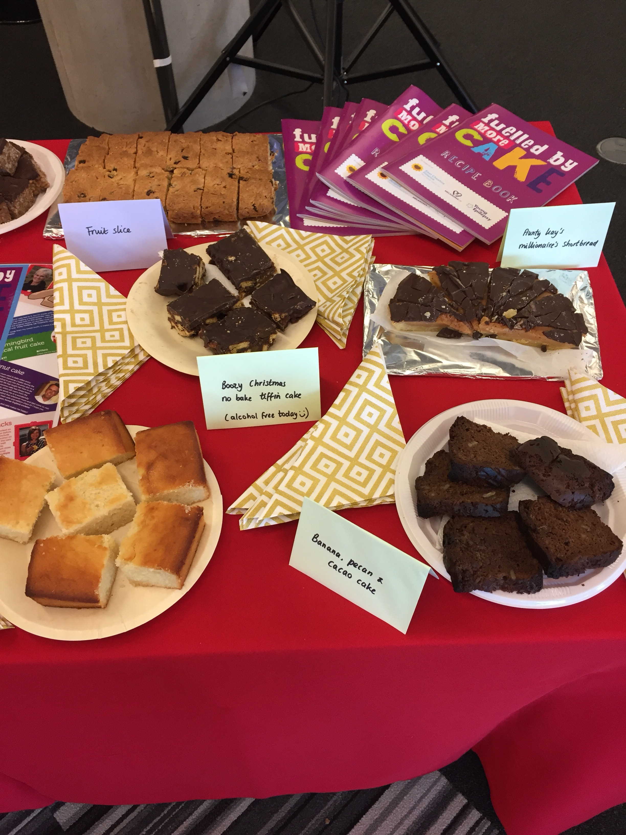 Cake and book sales at work