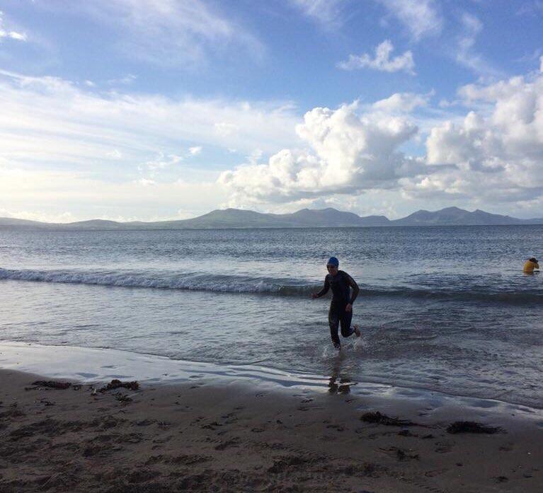 Emerging from the water at Sandman Triathlon