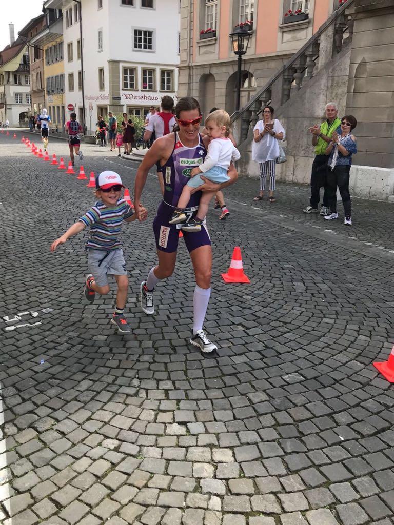 London 2012 gold medallist Nicola Spirig with her two children