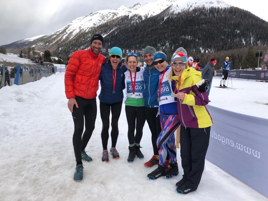 Finish line, Engadin Ski Marathon 2019. A fine combination of practically pros (Tom, Chrissie) and daring debutants (Rich, Lucy and Lauren) with me somewhere in the middle