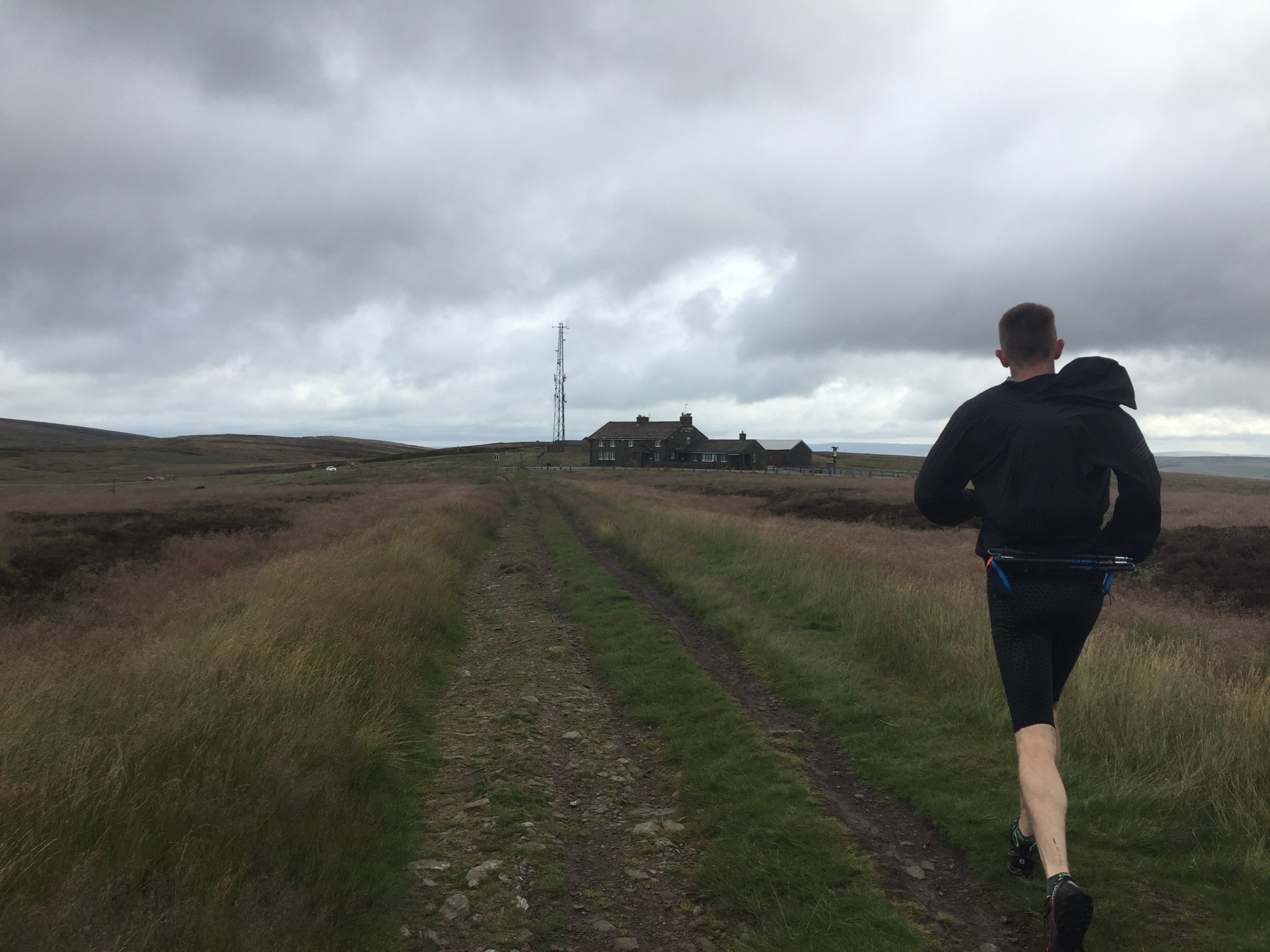 Recce 3 - A slightly less bleak looking Peak. Gordon running towards the Cat and Fiddle