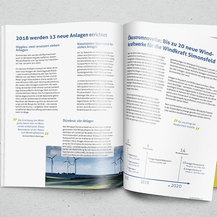 Mitarbeitermagazin für Windkraft Simonsfeld (freies Projekt)