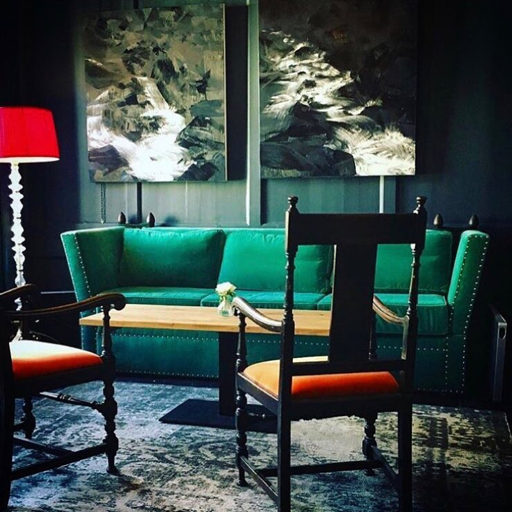 Blacks private members club Soho a great space with our over sized Knole sofa in pea green velvet from Designers Guild - space designed by the ever colourful Shaun Clarkson ID.