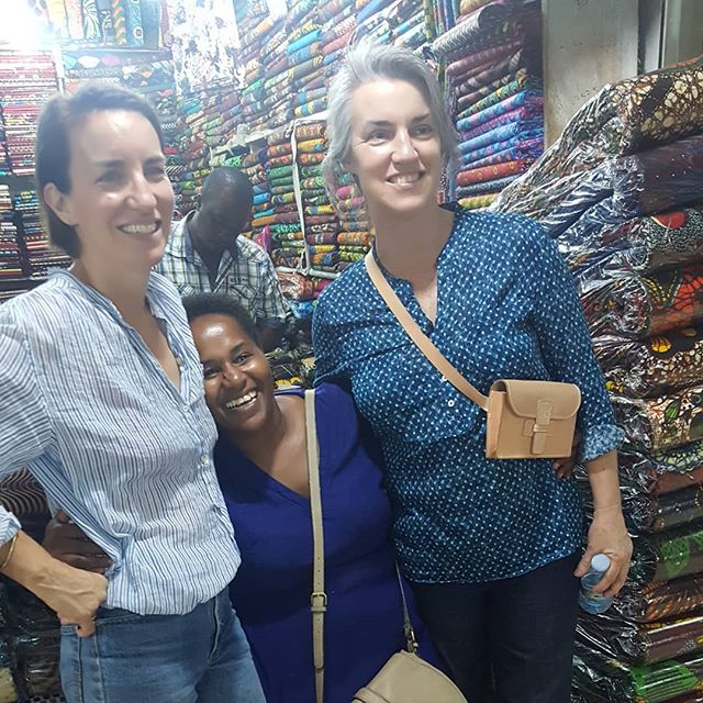 Welcome home Susie and Kathy. Kathy a fantastic sewer is here to skill the women so as to make the beautiful designs. Thank you Susie for bringing Kathy along on this trip. To a great 10 days ahead of us and changing womens lives. We have been down town the streets of Kampala doing some fabric shopping for 2 days shopping #empoweringwomen #Susie Crippen #ride4awoman #bwindi #uganda #womenempowerment #the4dressofficial