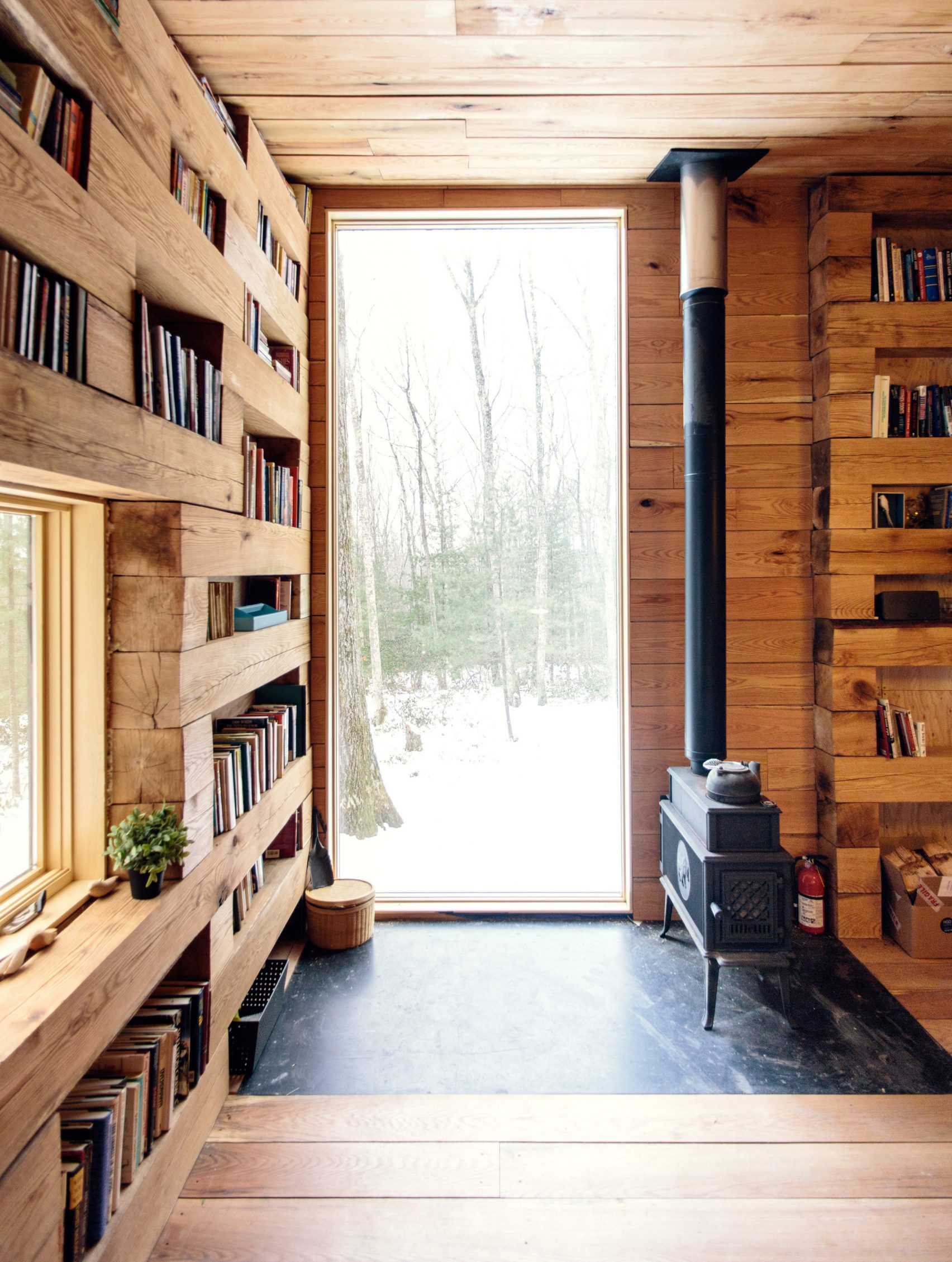 A library cabin in the woods in New York State designed by  Studio Padron  | photos by Jason Koxvold