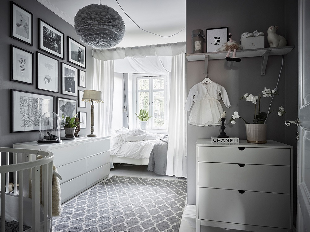 A grey & white bedroom