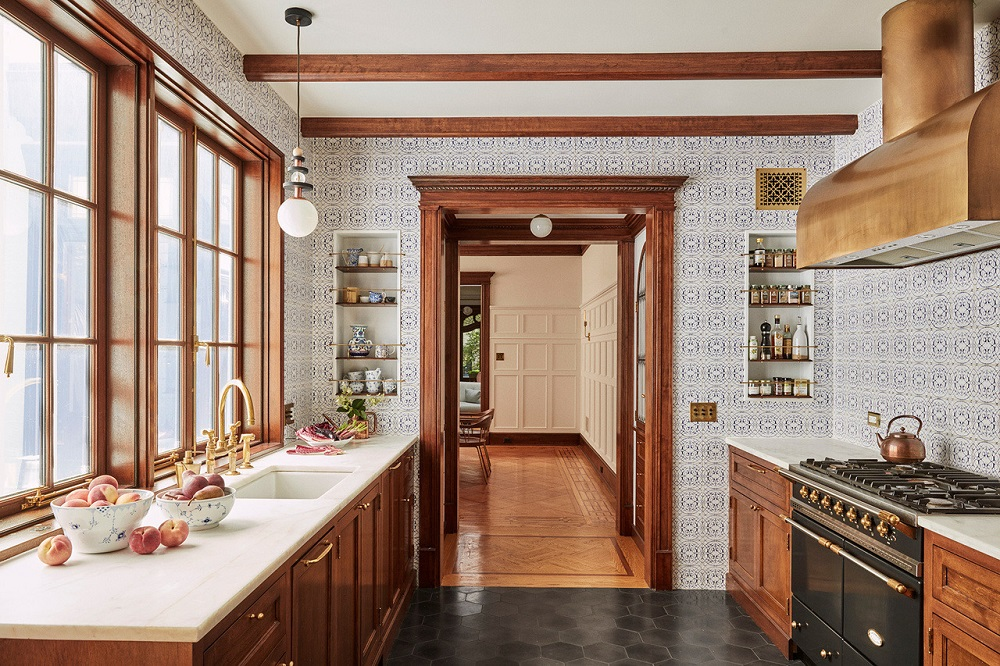 A classic kitchen with wonderful breakfast nook and wall tiles   | design by  Jessica Helgerson  & photos by Christopher Sturman