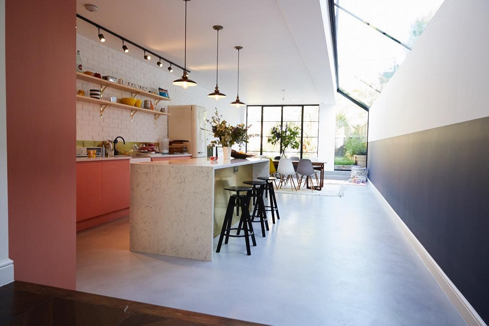 A pink & gold kitchen in a London home